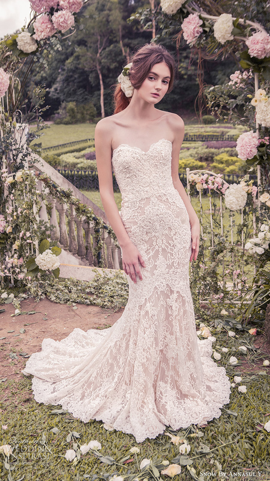 snow annasul y 2017 bridal (sa3245b) strapless sweetheart trumpet sheath lace wedding dress mv train