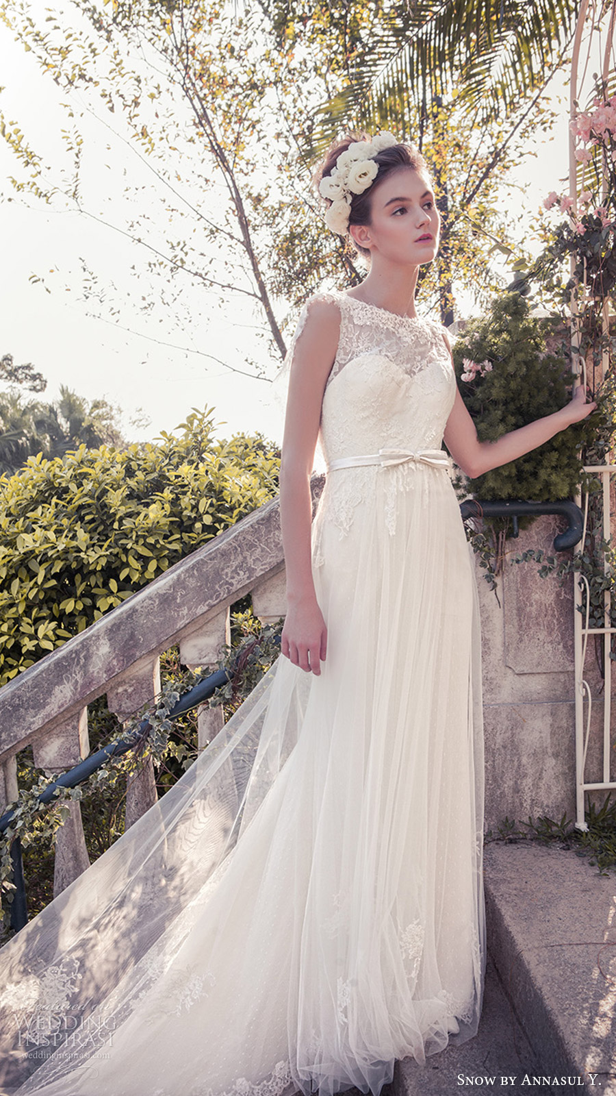 snow annasul y 2017 bridal (sa3333b) sleeveless illusion jewel neck sweetheart lace bodice a line wedding dress mv