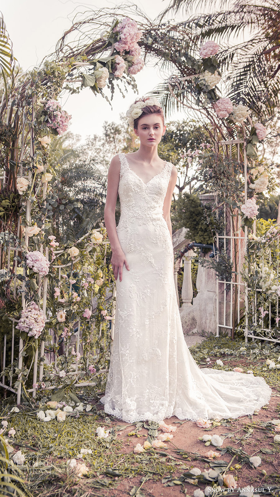 snow annasul y 2017 bridal (sa3336b) sleeveless v neck a line lace wedding dress mv train