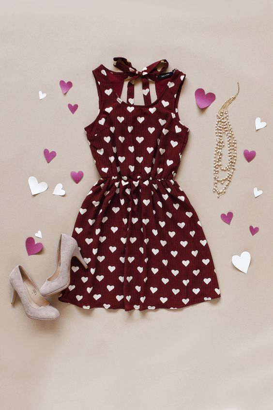 burgundy heart-printed dress with neutral suede shoes