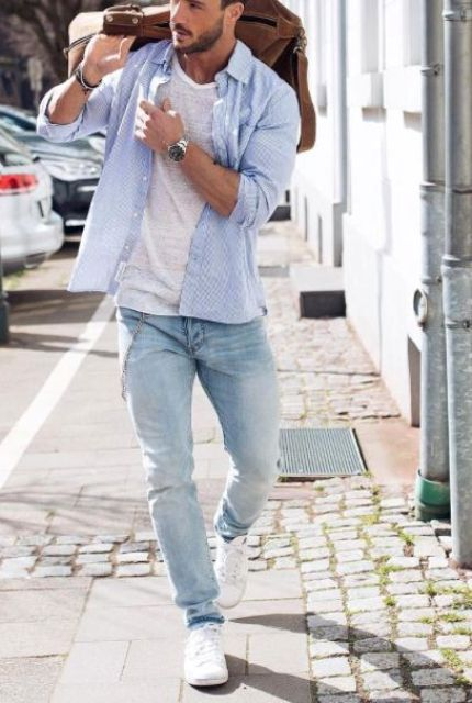 white sneakers, blue jeans, a white tee and a blue shirt