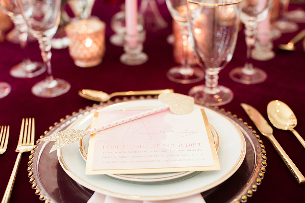 place settings - photo by Erin Stubblefield http://ruffledblog.com/chic-city-valentines-day-wedding-inspiration
