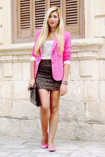 With white top, animal printed skirt and pink flats