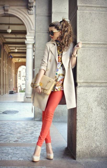 With printed blouse, white heels, beige clutch and trench coat