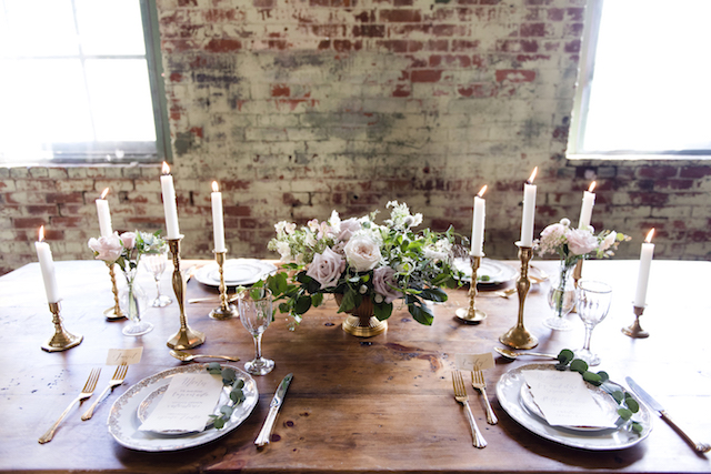 Elegant blush and gold wedding reception tablescape   Kim Ing Photography