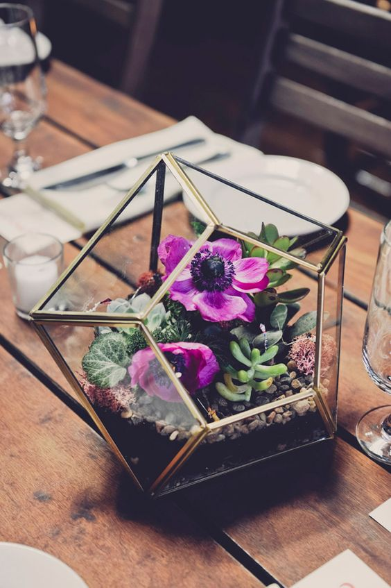 geo terrarium with bold purple flowers and succulents