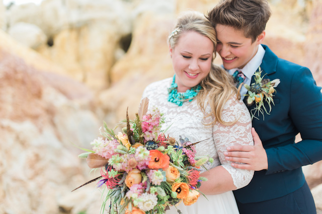 Colorful southwest bridal bouquet | Green Blossom Photography