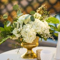 White and gold wedding centerpiece - Aldabella Photography