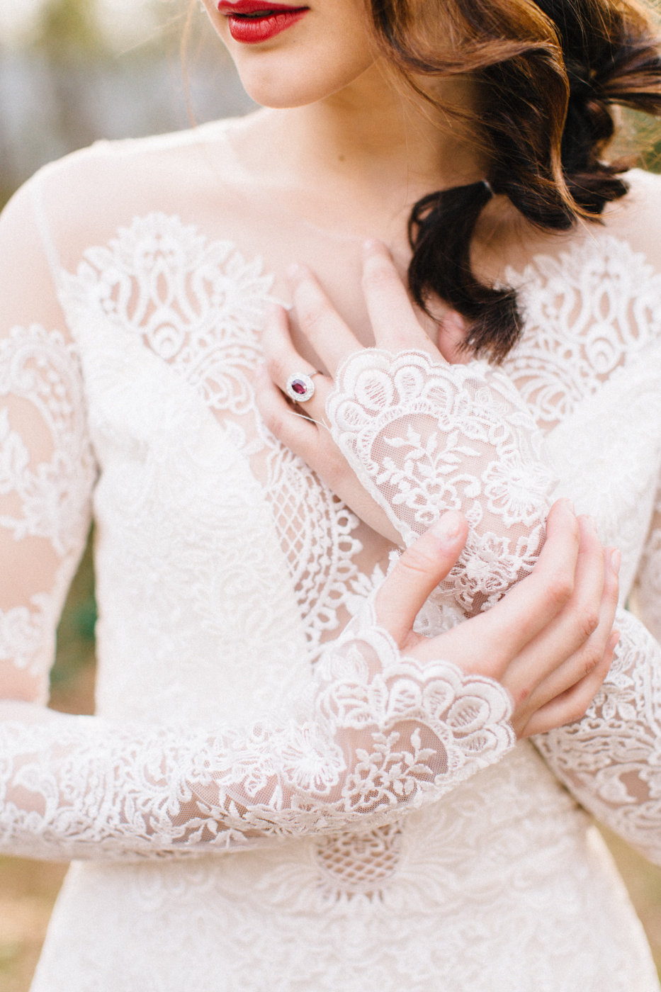 lace wedding dresses - photo by 4 Corners Photography http://ruffledblog.com/backyard-elopement-inspiration-for-valentines-day