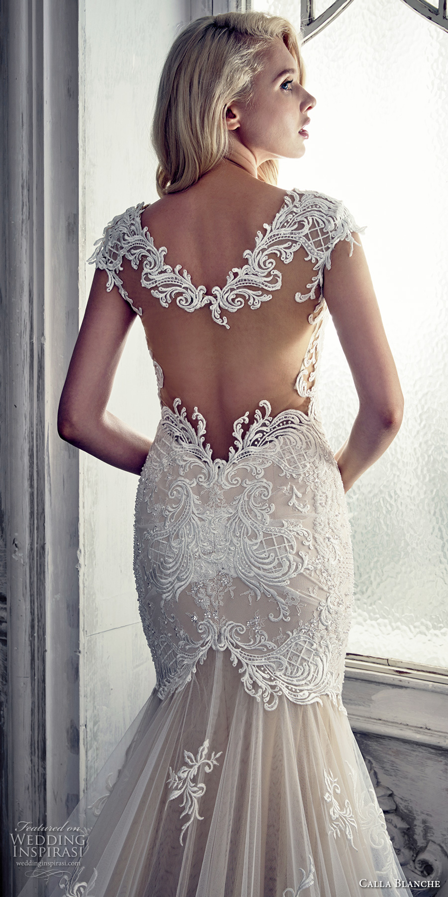 calla blanche spring 2017 bridal cap sleeves thick strap deep plunging sweetheart neckline heavily embellished bodice elegant sheath fit flare wedding dress keyhole back royal train (17112) zbv