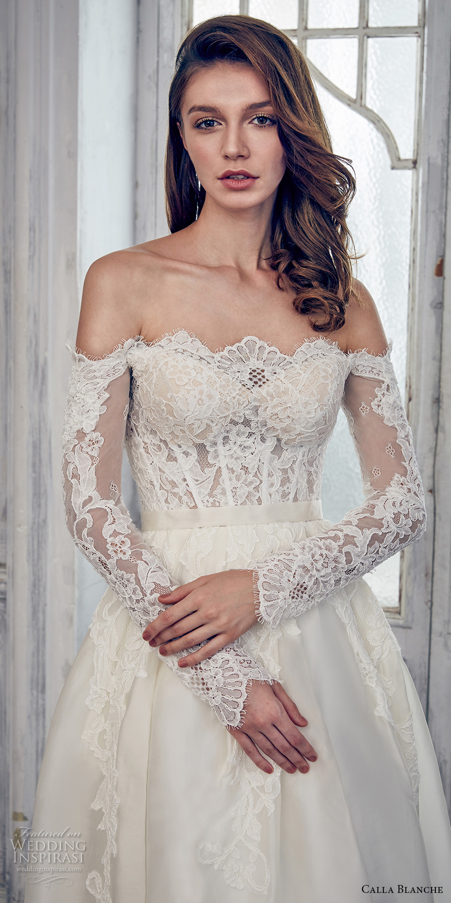 calla blanche spring 2017 bridal long sleeves off the shoulder scallop straight across neckline heavily embroidered bodice romantic a line wedding dress chapel train (17108) zv
