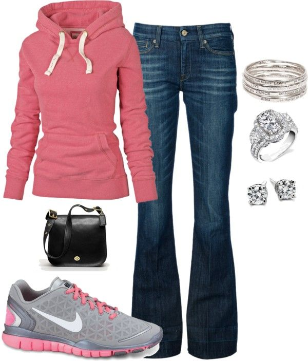 Pink Hoodie and Jeans for Sport/Jogging