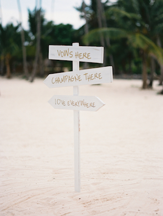 Beach wedding signage Asia Pimentel Photography