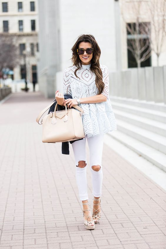 white ripped jeans, nude lace up heels and a perforated top