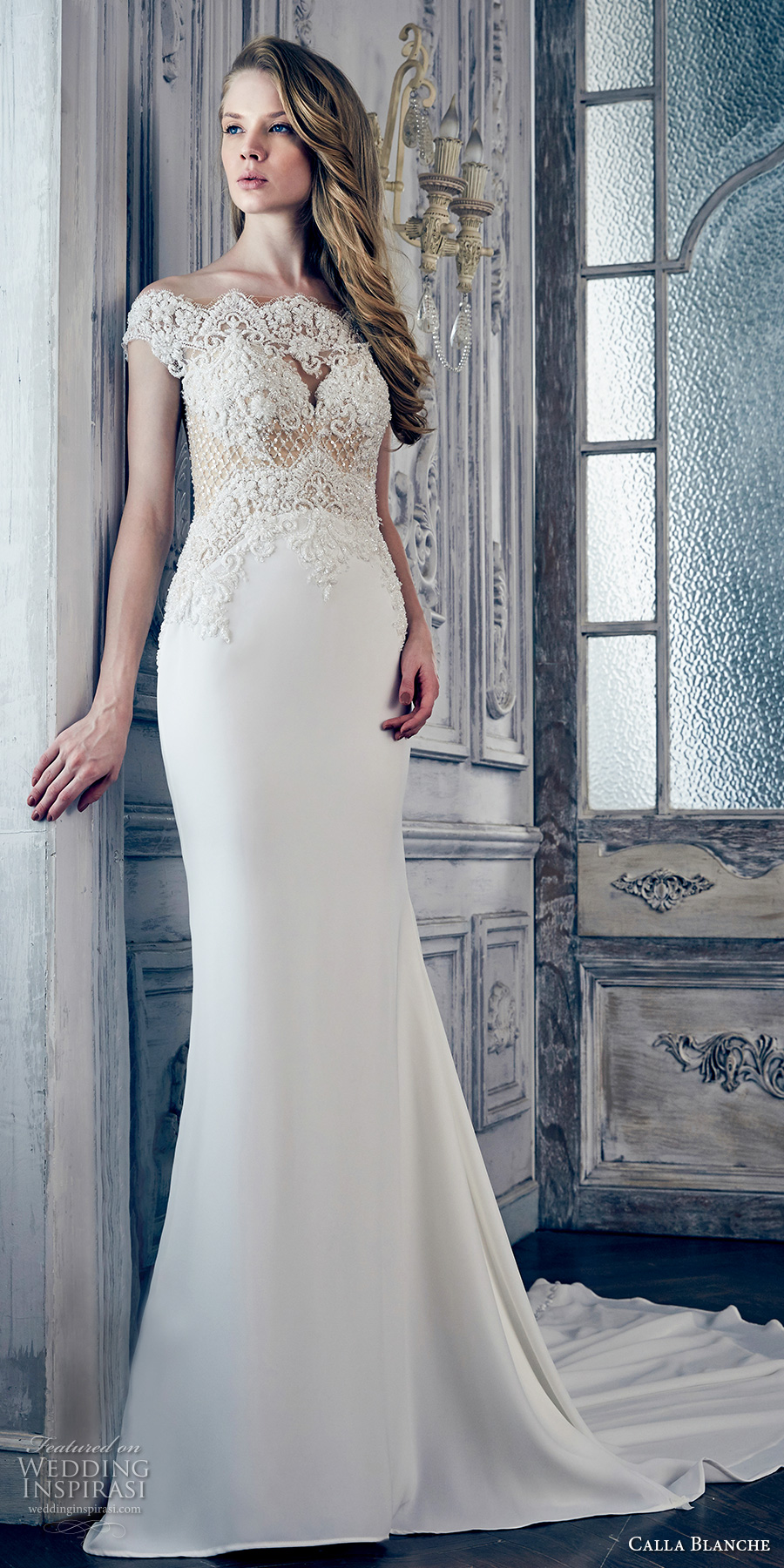 calla blanche spring 2017 bridal off the shoulder cap sleeves scallop neckline heavily embellished bodice elegant fit and flare wedding dress illusion back chapel train (17119) mv