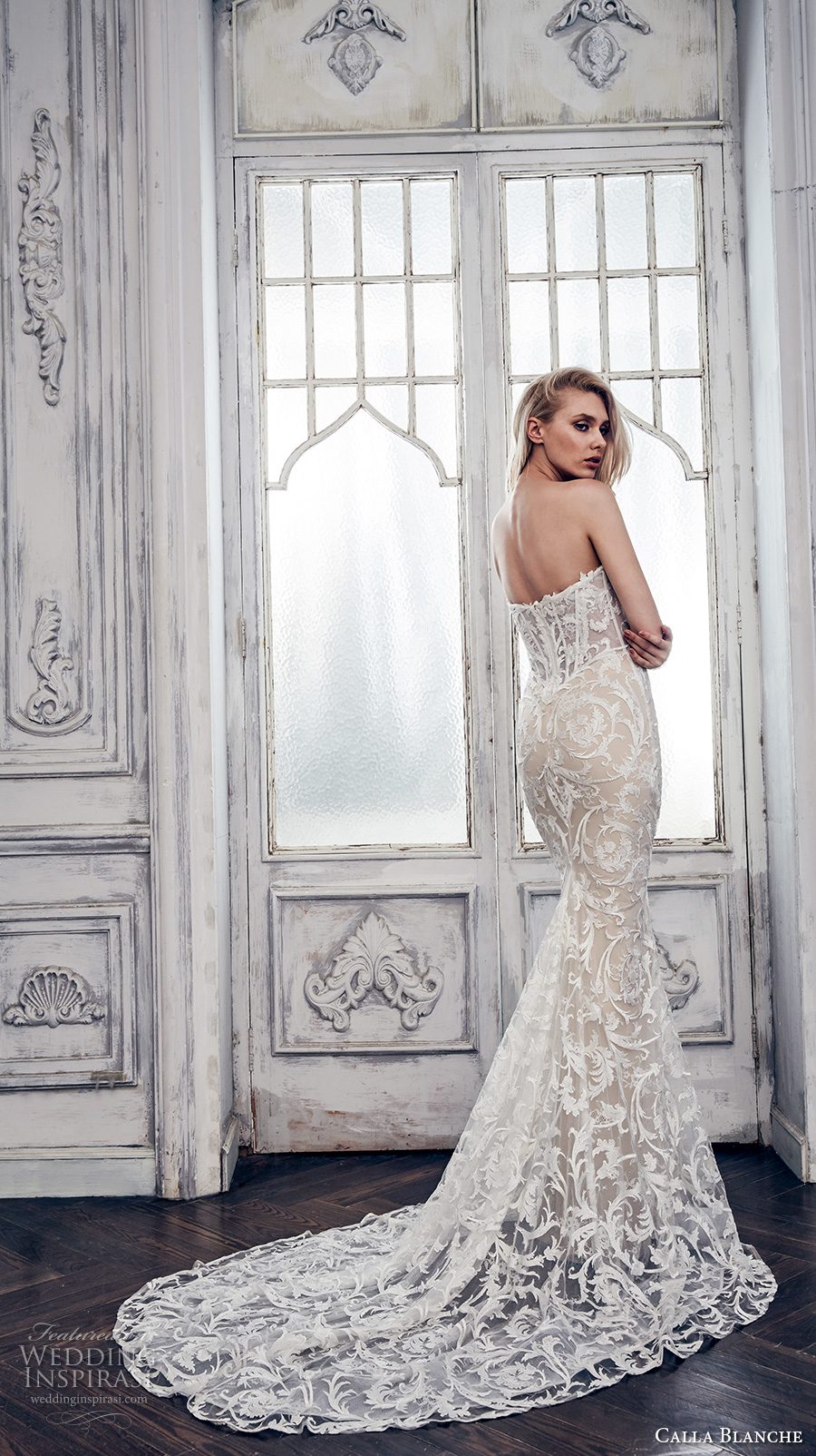 calla blanche spring 2017 bridal strapless deep plunging sweetheart neckline full embellishment sexy glamorous ivory color fit flare wedding dress chapel train (17102) bv
