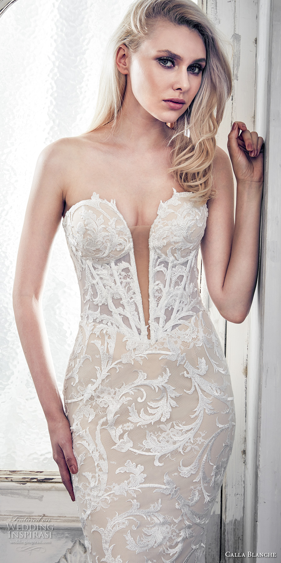 calla blanche spring 2017 bridal strapless deep plunging sweetheart neckline full embellishment sexy glamorous ivory color fit flare wedding dress chapel train (17102) zv