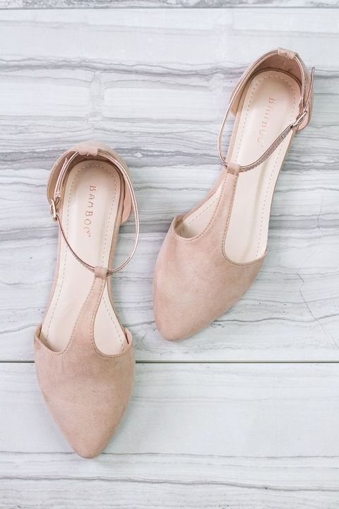 blush suede flats with ankle straps