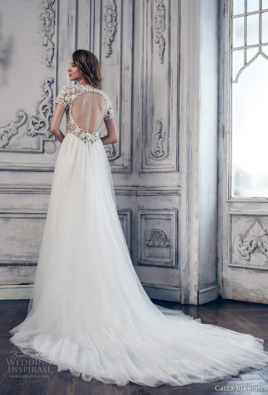 calla blanche spring 2017 bridal short sleeves sweetheart neckline heavily embroidered bodice romantic sexy modified a line wedding dress keyhole back chapel train (17110) bv