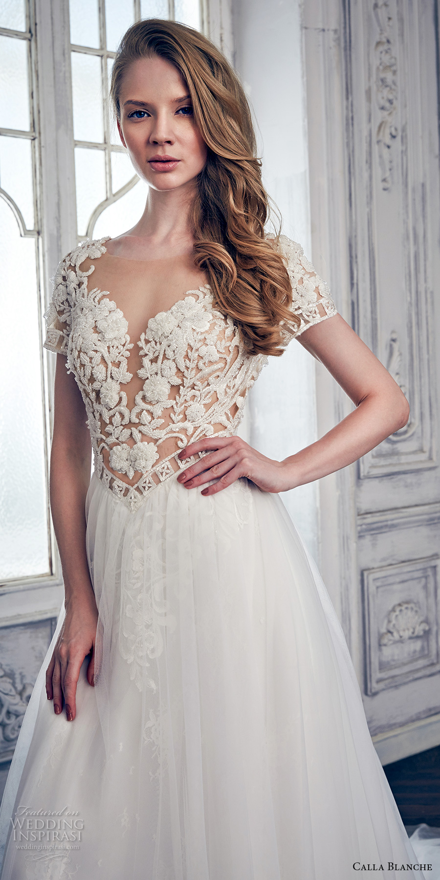 calla blanche spring 2017 bridal short sleeves sweetheart neckline heavily embroidered bodice romantic sexy modified a line wedding dress keyhole back chapel train (17110) zv