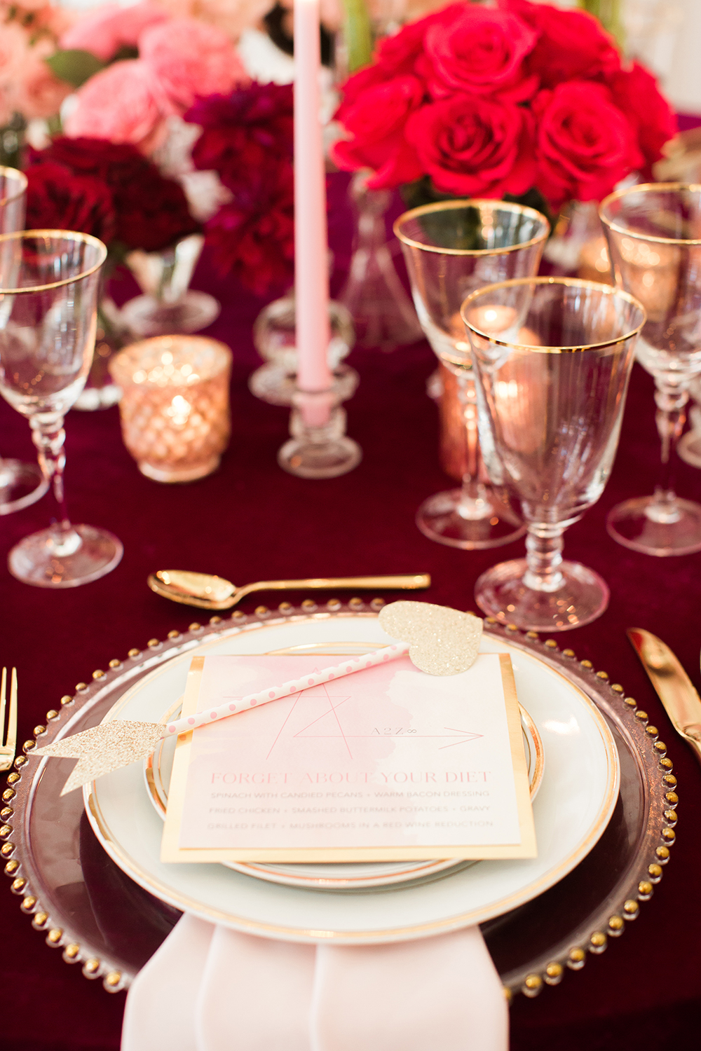 romantic place settings - photo by Erin Stubblefield http://ruffledblog.com/chic-city-valentines-day-wedding-inspiration