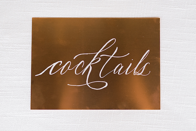 Copper cocktail sign | #aislesocietyexperience @aislesociety presented by @minted | Brkyln View Photography