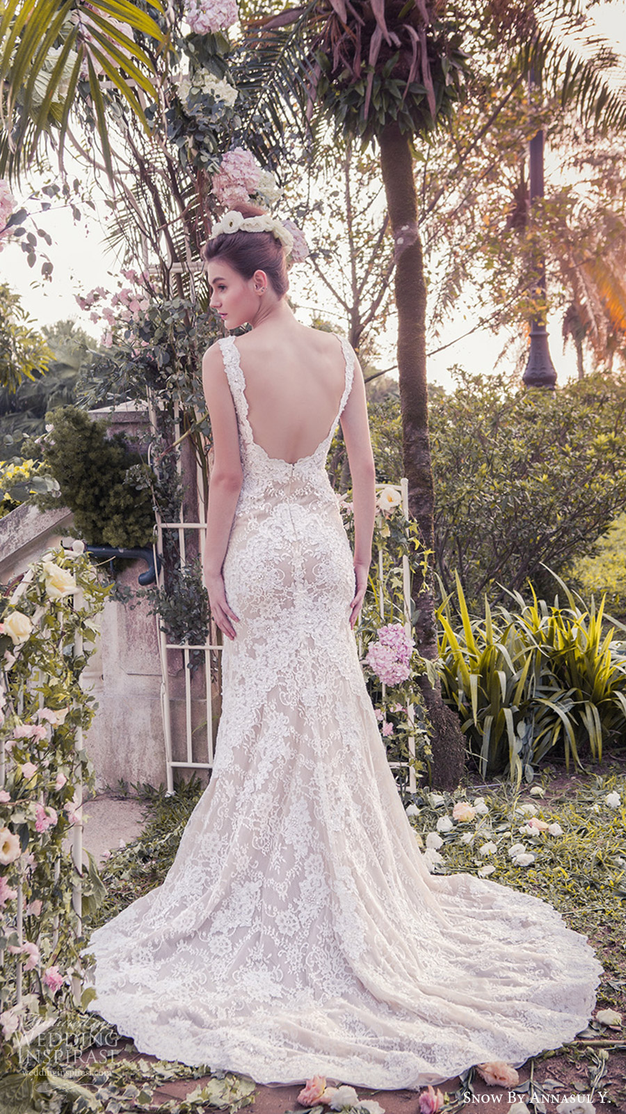snow annasul y 2017 bridal (sa2986b) sleeveless bateau trumpet mermaid lace wedding dress bv low back train