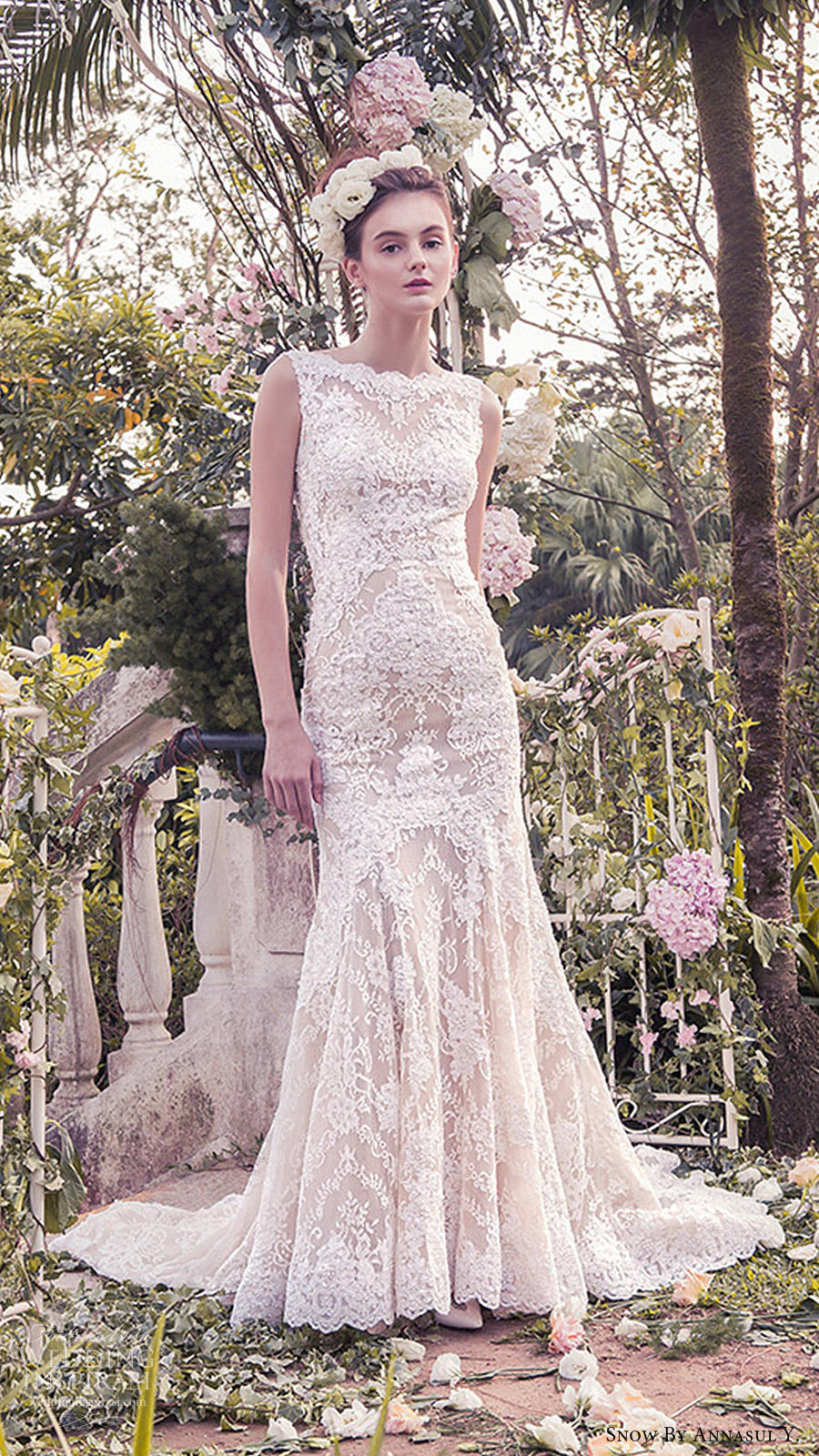 snow annasul y 2017 bridal (sa2986b) sleeveless bateau trumpet mermaid lace wedding dress mv short train