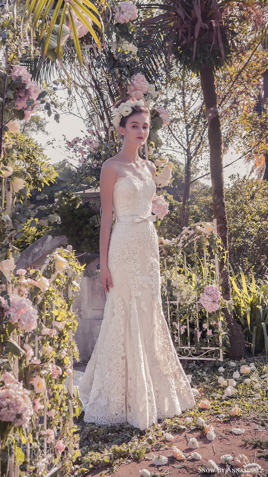 snow annasul y 2017 bridal (sa3065b) strapless sweetheart trumpet mermaid lace wedding dress mv train