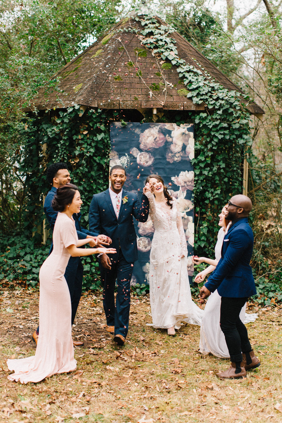 ceremony recessionals - photo by 4 Corners Photography http://ruffledblog.com/backyard-elopement-inspiration-for-valentines-day