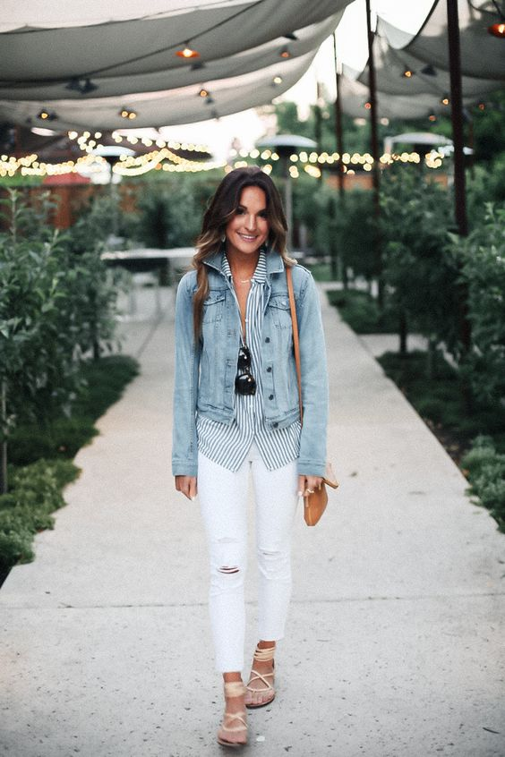 lace up neutral flats, white denim, a striped shirt and a denim jacket