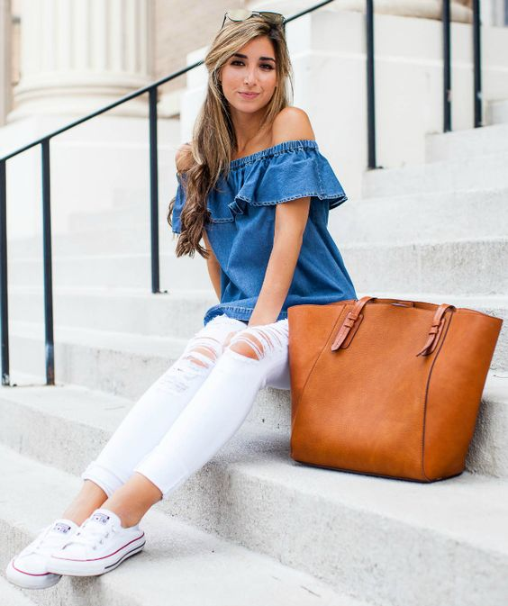 white Converse, white ripped jeans, a chambray off the shoulder top