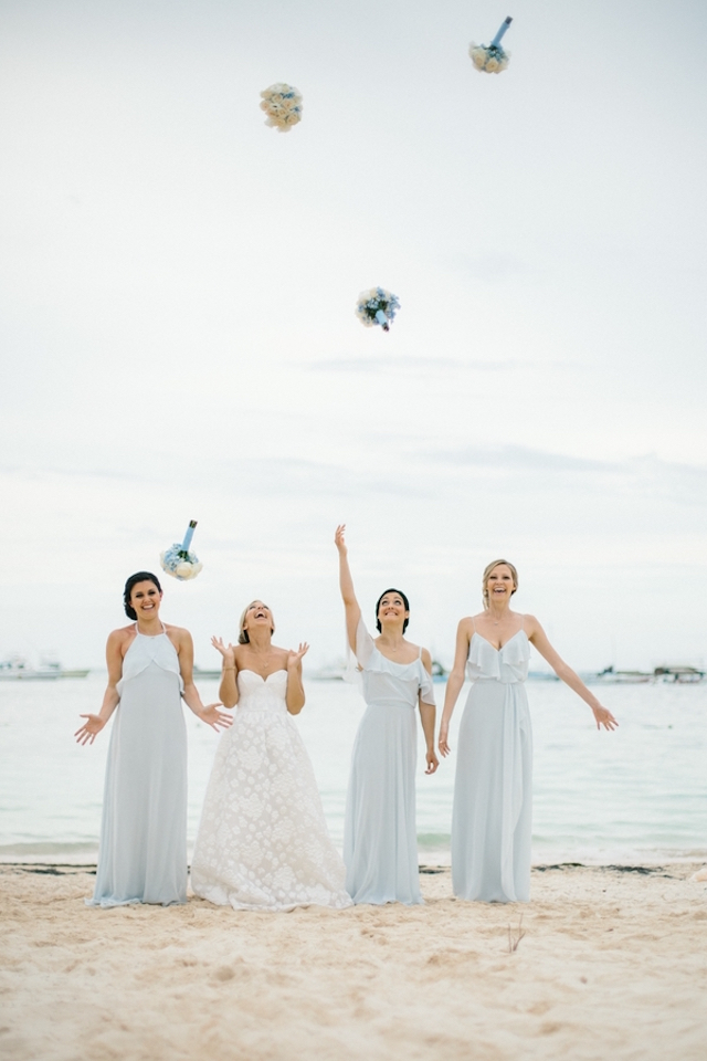 Bridesmaids bouquet toss Asia Pimentel Photography