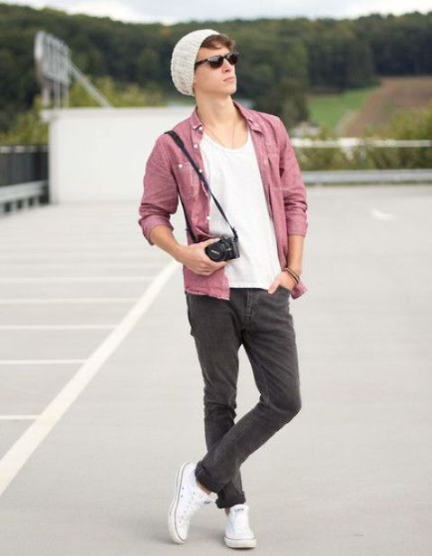 grey jeans, a white tee, a pink shirt and white Converse