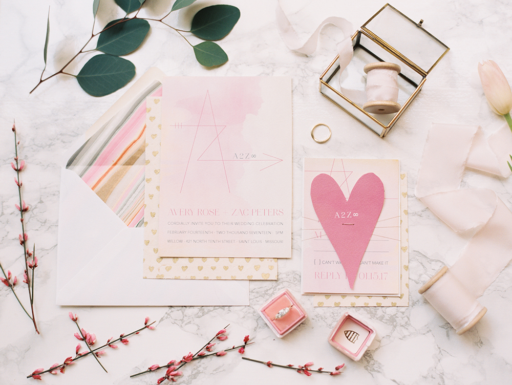 Valentines Day wedding invitations - photo by Erin Stubblefield http://ruffledblog.com/chic-city-valentines-day-wedding-inspiration