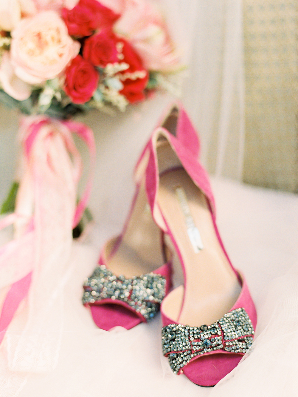 pink wedding shoes - photo by Erin Stubblefield http://ruffledblog.com/chic-city-valentines-day-wedding-inspiration