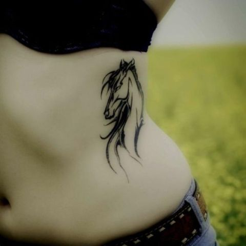 Horse tattoo on the left side