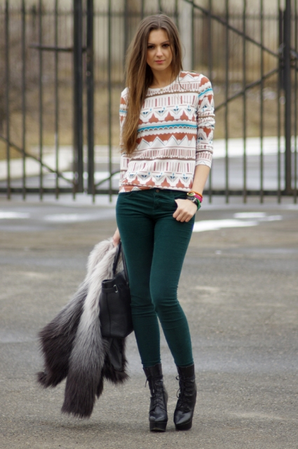With printed shirt, mid calf heeled boots and bag