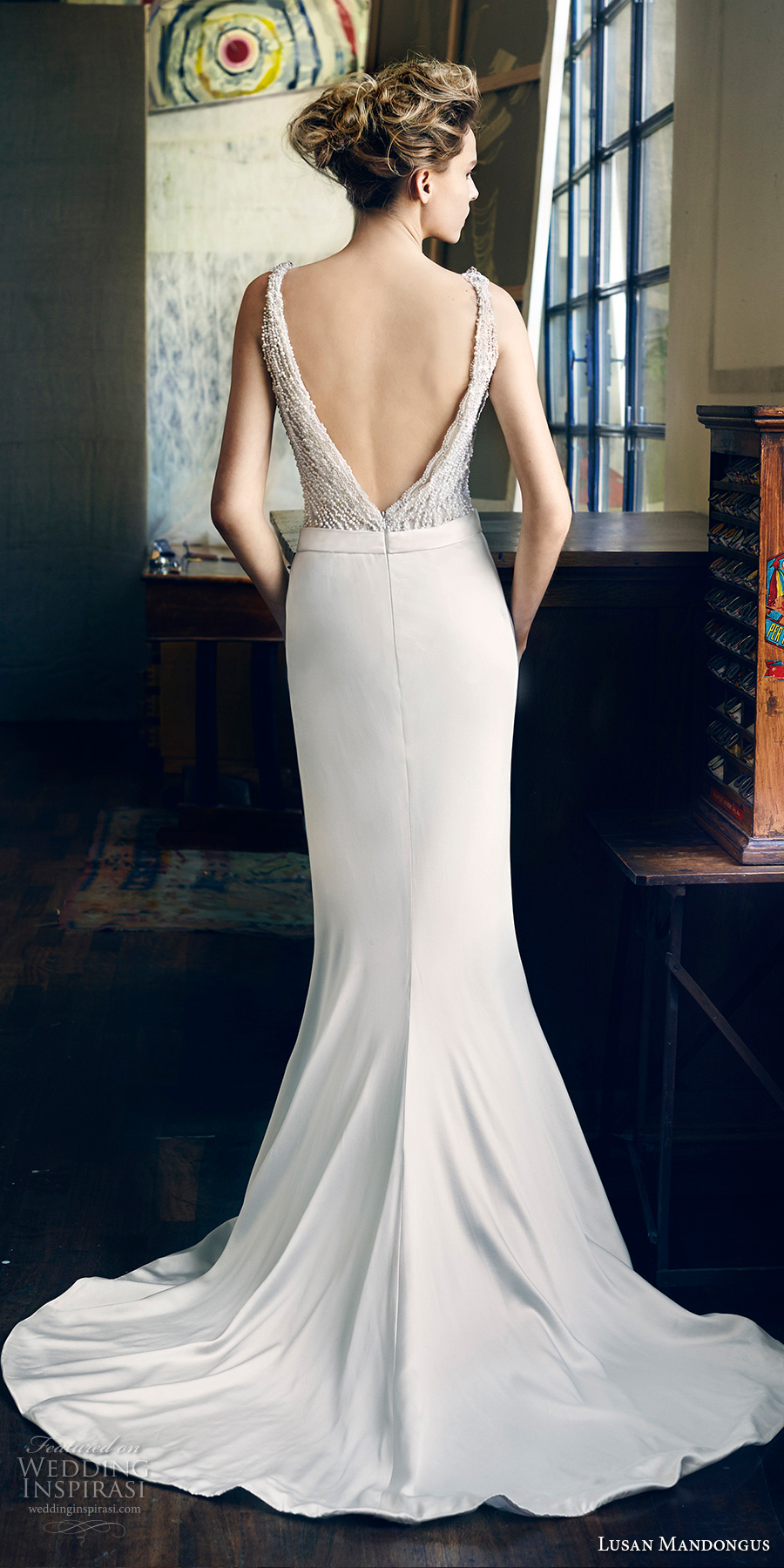 lusan mandongus 2017 bridal sleeveless deep v neck heavily embellished beaded bodice elegant glamorous sheath wedding dress open low v back sweep train (peridot) bv