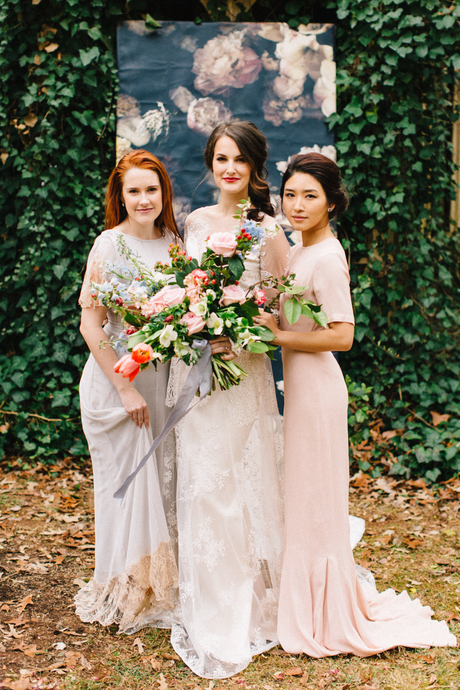 bride and bridesmaids - photo by 4 Corners Photography http://ruffledblog.com/backyard-elopement-inspiration-for-valentines-day