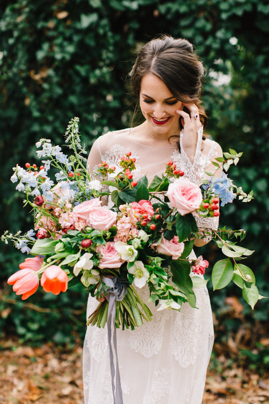 lush garden wedding bouquets - photo by 4 Corners Photography http://ruffledblog.com/backyard-elopement-inspiration-for-valentines-day