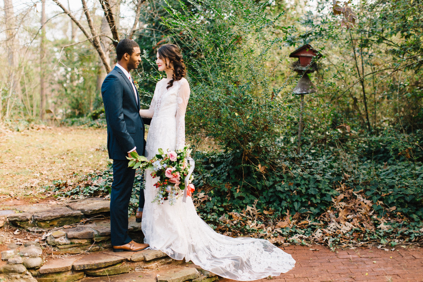 bride and groom - photo by 4 Corners Photography http://ruffledblog.com/backyard-elopement-inspiration-for-valentines-day