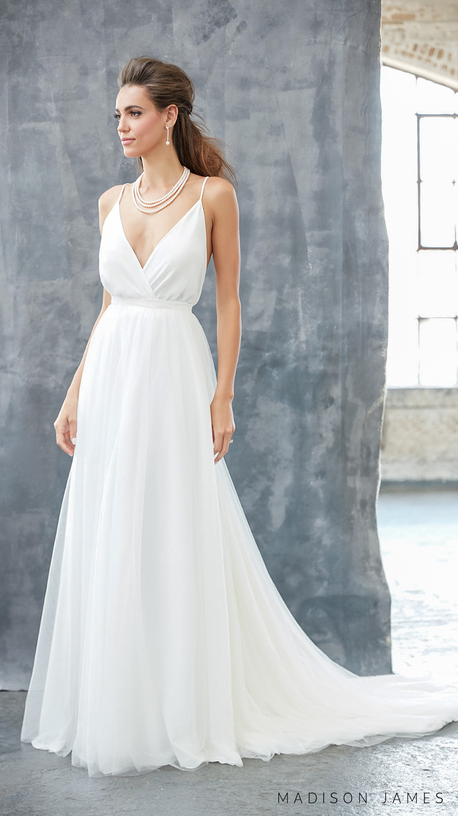 madison james spring 2017 bridal spagetti strap v neck simple clean surplice bodice elegant romantic elegant a line wedding dress open low v back chapel train (mj313) mv