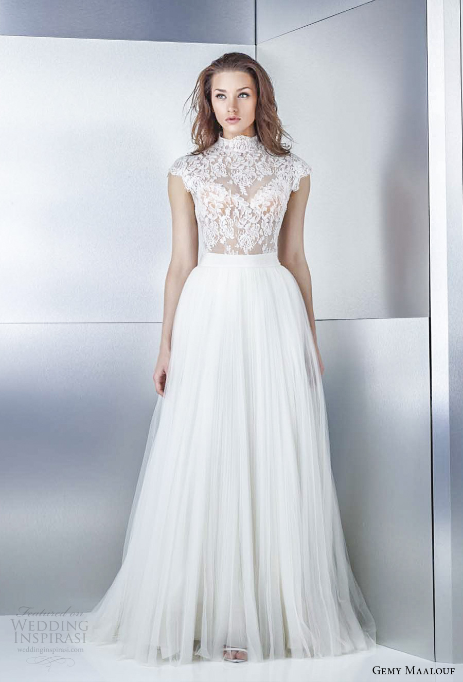 gemy maalouf 2017 bridal cap sleeves high neck heavily embellished bodice tulle skirt romantic a line wedding dress covered lace back sweep train (3239 3759) mv