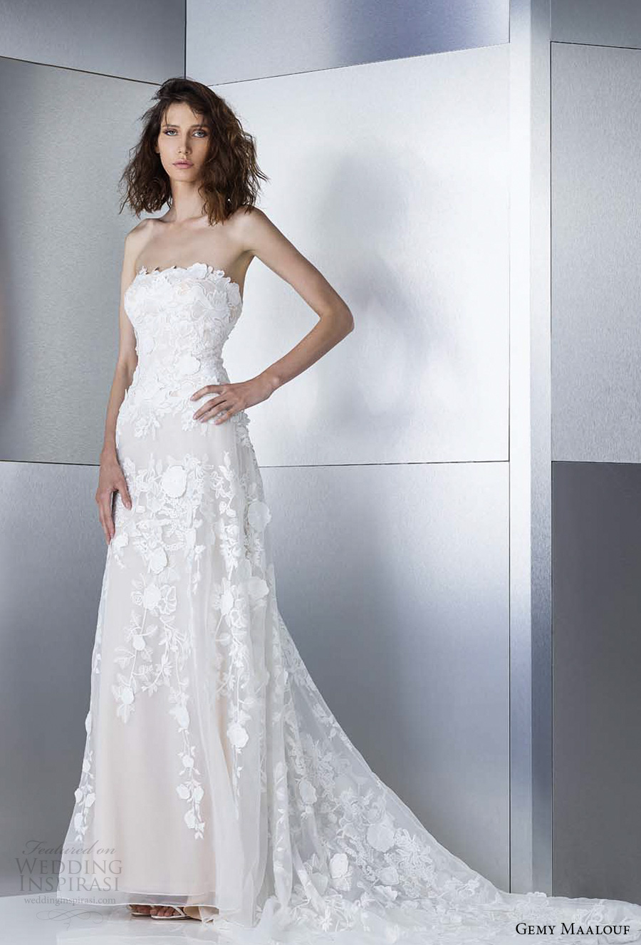 gemy maalouf 2017 bridal strapless straight across full embroidered elegant sexy modified a line wedding dress sweep train (4805) fv