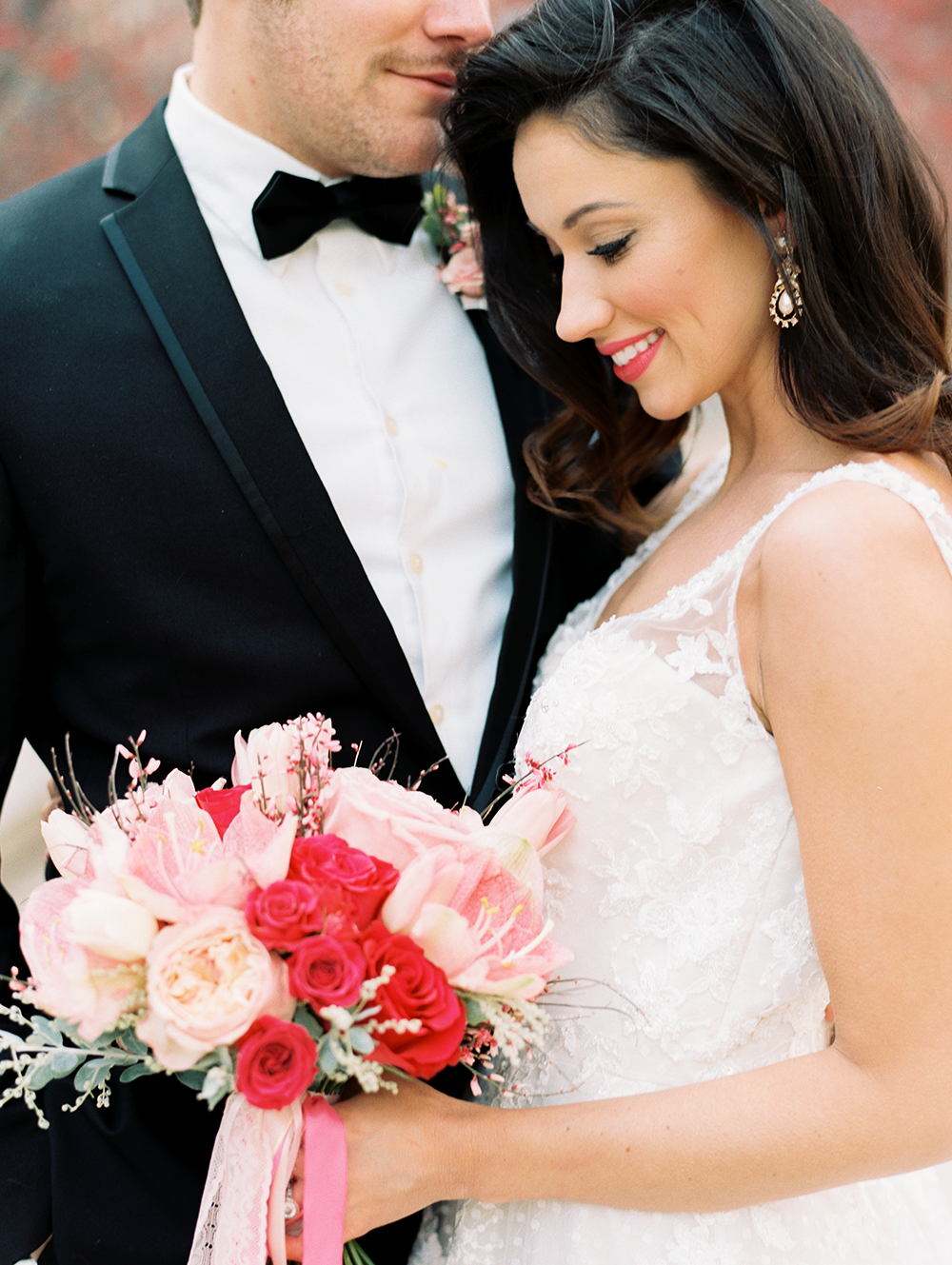 pink weddings - photo by Erin Stubblefield http://ruffledblog.com/chic-city-valentines-day-wedding-inspiration