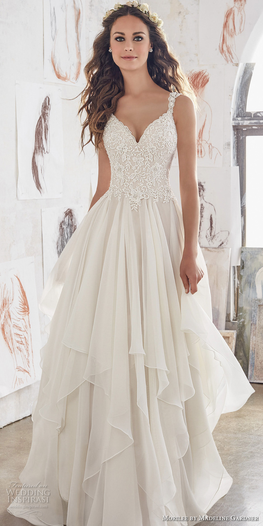 morilee spring 2017 bridal sleeveless strap sweetheart neckline heavily embellished bodice layered skirt romantic modified a line wedding dress illusion lace back chapel train (5512) mv