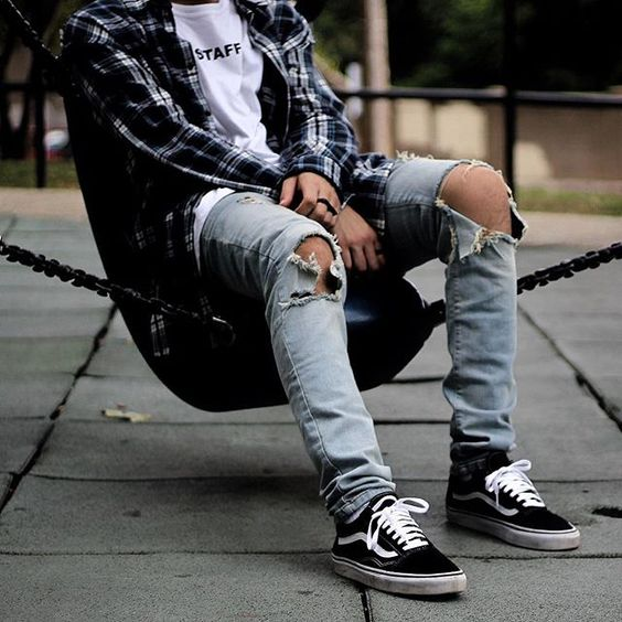 distressed jeans, black Vans, a white tee and a plaid shirt