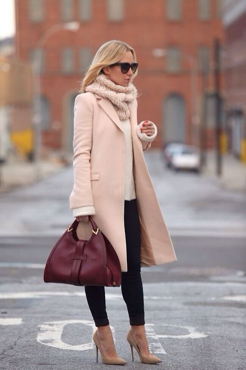 Wear long pink coat to office