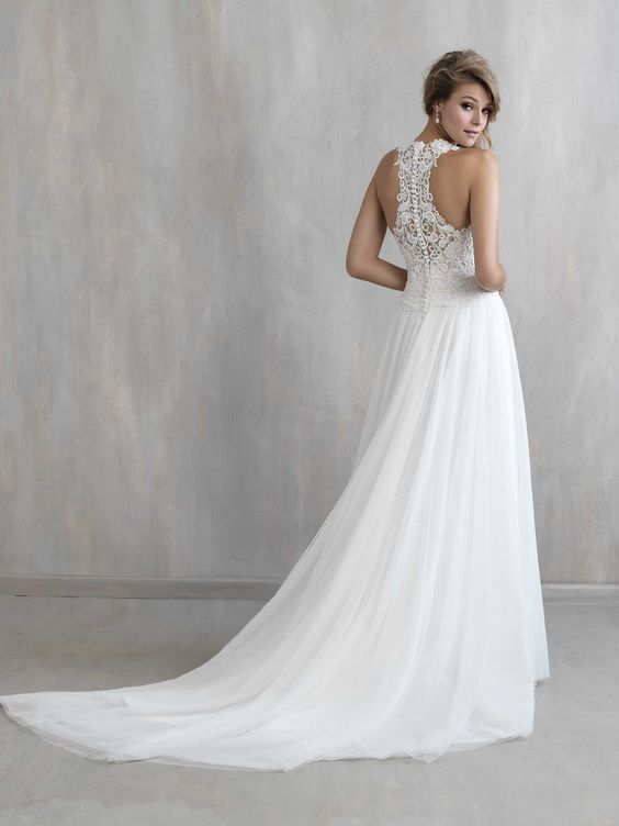 romantic wedding dress with a small train and a lace racerback
